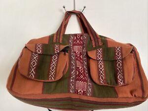 Peruvian Large Duffel Travel Tote Bag Rust Orange Green Purple Shoulder Strap