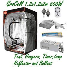 GROCELL 1.2x1.2x2m GROW TENT + 600W HPS LAMP BALLAST REFLECTOR + HANGERS & TIMER