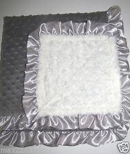 NEW fur Nursery Baby receiving Blanket throw Satin Ruffle gray unisex silver