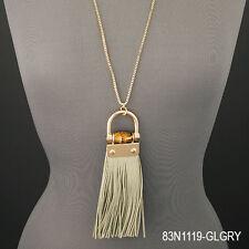 Gold Chain Designer Inspired Bamboo Soft Tassel Pendant Necklace