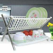 2 Tier Multi-functional Folding Kitchen Dish Rack