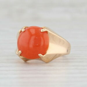 Vintage Orange Coral Solitaire Ring 18k Yellow Gold Size 5.75