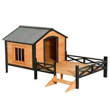 """PawHut 67"""" x 40"""" Wooden Cabin Outdoor Covered Elevated Dog Brown Large"""