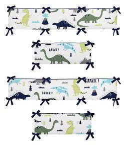 Sweet Jojo Designs Blue Green Mod Dinosaur Baby Boy Girl 4 Piece Crib Bumper Pad