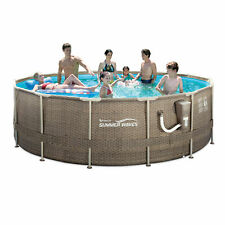 "Summer Waves 14' x 48"" Frame Outdoor Swimming Pool w/ Ladder & Pump *Free Ship*"