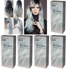 5 x Berina Permanent Hair dye color cream enough for long hair # A21 Light Grey