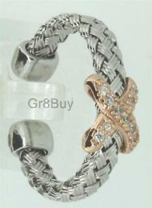 """RING:  925 RHODIUM WEAVE EXPANDABLE OPEN END WITH CZ DIAM """"x"""" SUITS SIZE 4 - 9"""