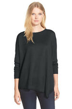 Eileen Fisher Asymmetrical Merino Bateau Neck Top Charcoal PL NWT $218
