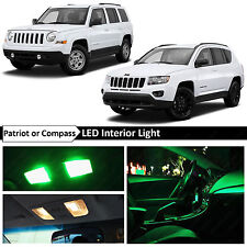 6x Green Interior LED Light Package Kit 2007-2016 Jeep Patriot & Compass