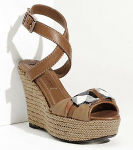 BURBERRY Brown Leather Check Donegal Wedge Strap Sandal 40 /9.5