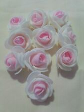 10 Pale Pink And White Foam Flower Heads