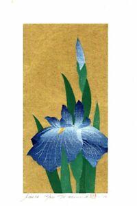Hajime Namiki 2010 woodblock print Iris-76 20 x 10 cm