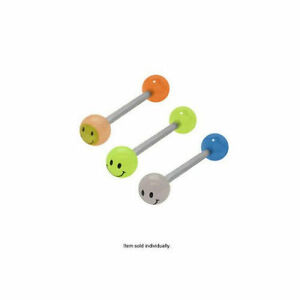 Smiley Face Tongue Ring 14g 5/8 16mm Barbell Set of 3 Glow in the Dark