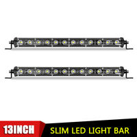 2X 13inch Slim LED Light Bar Flood Offroad Work Fog 4WD Truck ATV UTV Single Row
