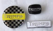 TRIUMPH MotorCYCLE MotorBIKE MOTORING Enamel Lapel Pin Badges  3 inc JUMBO round