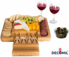 Bamboo Cheese Board with Knife Set – Rectangle Wooden Server has Extra Serving