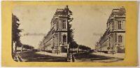 Parigi Wharf Dei Tuileries Francia Foto Stereo Vintage Albumina c1865