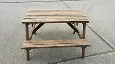 PICNIC TABLE WOODEN PUB CAFE RESTAURANT GARDEN  OUTDOOR STRONG & STURDY 4 SEATER
