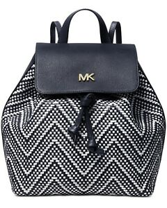 New Michael Kors Junie Woven Leather Medium Backpack Admiral Navy Blue White