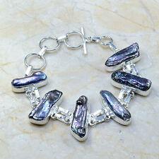 "Rainbow Natural Biwa Pearl 100% Pure 925 Sterling Silver Bracelet 7.75"" #C63964"