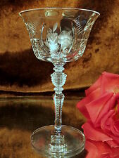 7 Vintage Crystal Wine Champagne Glasses CUT FLOWERS LEAVES - NOTCHED RING STEMS