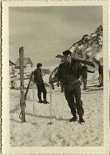 PHOTO ANCIENNE - VINTAGE SNAPSHOT - MILITAIRE SKI CHASSEUR ALPIN-MILITARY SKIING