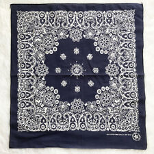 Vtg Antique Crafted With Pride USA Handkerchief Blue Cotton Paisley Head Scarf