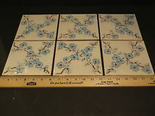 🎀 6 Floral Ceramic Wall Tiles - VINTAGE - H&R Johnson 6 X 6 From 1960's ENGLAND