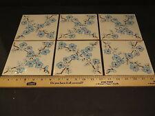 12 (1 dozen) Vintage Ceramic Flower Tiles H&R Johnson 1960's ENGLAND 6 X 6 Blue