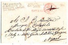 Catanzaro - Bollo Lineare Rosso  -  per Napoli  nel 1836