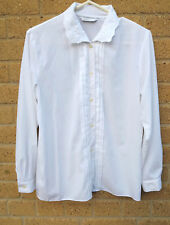 Womens 1990s Vintage M&S White Shirt Sze 8 Collar Embroidery Front Pleats Career
