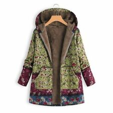 Women Winter Warm Fleece Lined Hooded Jacket Parka Floral Coat Jacket Outwear