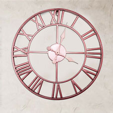 Rose Gold / Copper Colour Metal Skeleton Wall Clock Roman Numerals 40 cm