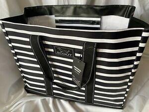 "Scout Original Deano Tote Bag Fleetwood Black Striped Blk/Wht 19""WX15""HX10""D NWT"