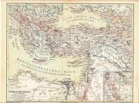c. 1890 TURKEY OTTOMAN EMPIRE GREECE CYPRUS CRETE RUSSIA EGYPT Antique Map