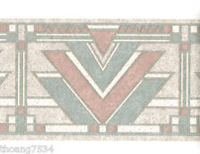 Pastel Blue Mauve Pink Grey Geometric Sand Stone Tile Triangle Wall paper Border