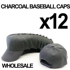 ***CHARCOAL DARK GRAY** WHOLESALE LOT OF 12 PLAIN BLANK SOLID BASEBALL CAPS HATS