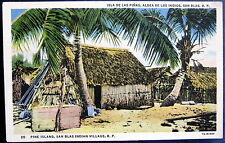Panama ~ 1940's Pine Islands San Blas Indian Village ~ Thatched Roof Hut