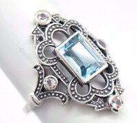 Topacio Azul Blanco Topacio Anillo de plata plata de ley 925 Estilo Antiguo