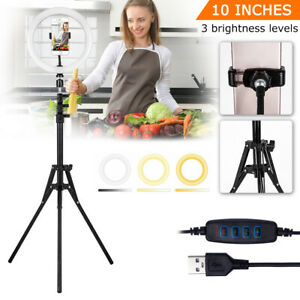 LED Dimmable 10'' Ring Light Tripod Stand Phone Holder Selfie Make Up Video Live
