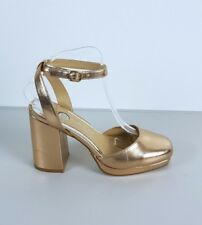 River Island Ladies Metallic Gold Ankle Strap Chunky Heel Shoes UK 6 Party Club