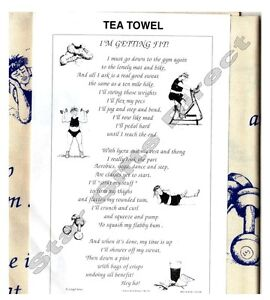 TEA TOWEL Funny I'M GETTING FIT Birthday Gift NEW Gym *SENT BY RM 1ST CLASS POST
