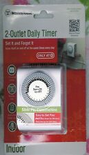Westinghouse Indoor 2 Polarized Outlet Daily Timer ~ Set It & Forget It! ~ Nip