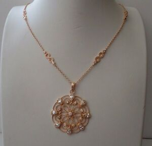 ROSE GOLD OPEN CIRCLE FLOWER DESIGN NECKLACE W/ LAB DIAMONDS/925 STERLING SILVER