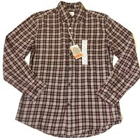 St John's Bay Men's Plaid Flannel Shirt ButtonDown Long Sleeve Brown Small NEW
