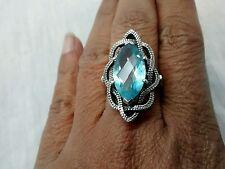 Pretty designer Nicker Butler sterling 925 faceted blue topaz  ring size 9