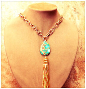 Aqua Turquoise Earth Jasper Pendant Necklace 24K Thick Gold Chain Overlay Brass