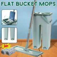 Innovative Microfibre Flat Mop and Bucket Floor Cleaner Set with 2 Pads Dry