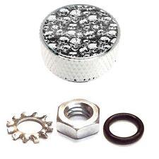 Chrome Billet Aluminum Knurled Horn Cover Nut Kit For Harley - Skull Pilke B/W