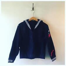 Vintage USA Naval Navy Nautical Military Sailor Collar Top Jumper Shirt S M